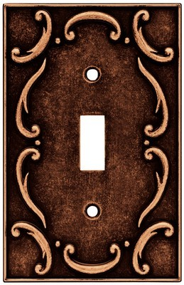 Liberty Hardware 64268, Single Switch Wall Plate, Sponged Copper, French Lace