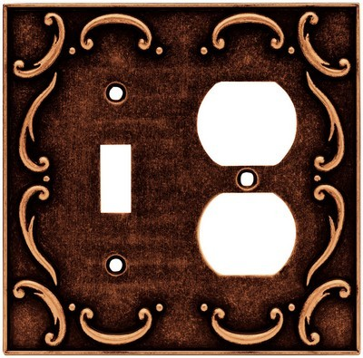 Liberty Hardware 64275, Single Switch/Duplex Wall Plate, Sponged Copper, French Lace