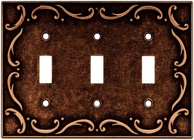 Liberty Hardware 64279, Triple Switch Wall Plate, Sponged Copper, French Lace