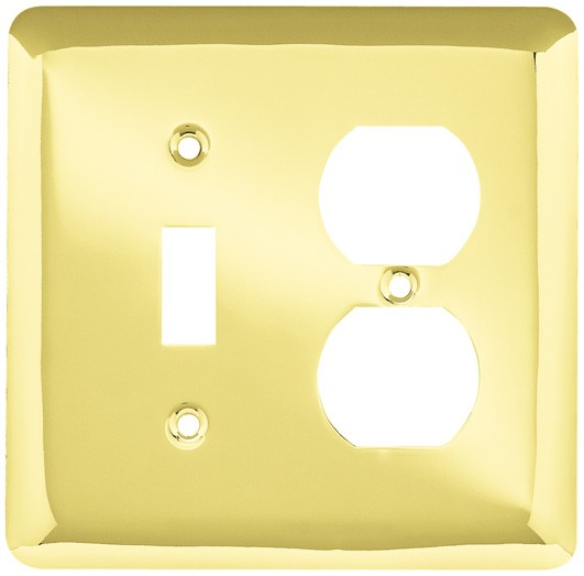 Liberty Hardware 64353, Single Switch/Duplex Wall Plate, Polished Brass, Stamped Round