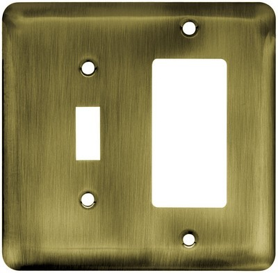 Liberty Hardware 64365, Single Switch/Decorator Wall Plate, Antique Brass, Stamped Round
