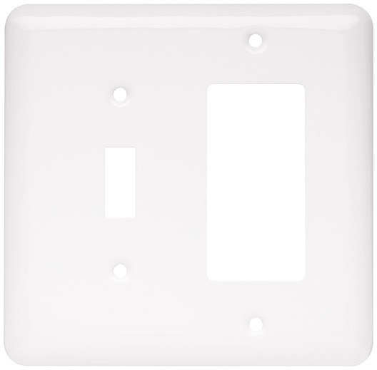 Liberty Hardware 64374, Single Switch/Decorator Wall Plate, White, Stamped Round