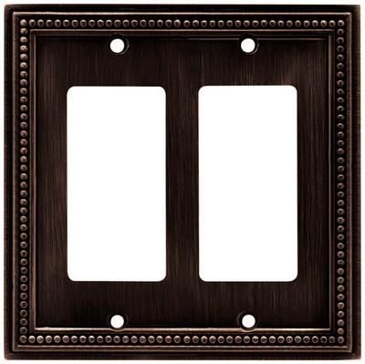 Liberty Hardware 64403, Double Decorator Wall Plate, Venetian Bronze, Beaded