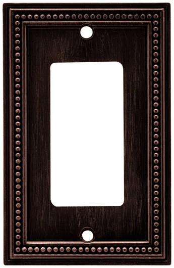 Liberty Hardware 64405, Single Decorator Wall Plate, Venetian Bronze, Beaded