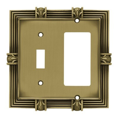 Liberty Hardware 64476, Single Switch/Decorator Wall Plate, Tumbled Antique Brass, Pineapple