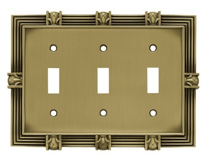 Liberty Hardware 64477, Triple Switch Wall Plate, Tumbled Antique Brass, Pineapple