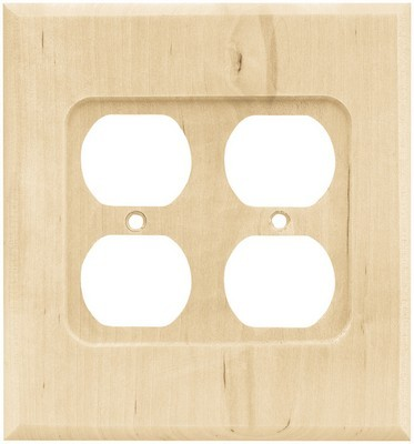 Liberty Hardware 64651, Double Duplex Wall Plate, Unfinished Wood, Wood Square