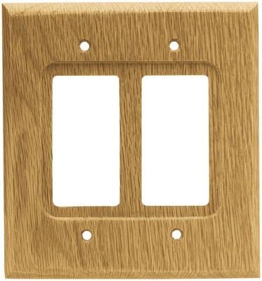 Liberty Hardware 64654, Double Decorator Wall Plate, Medium Oak, Wood Square