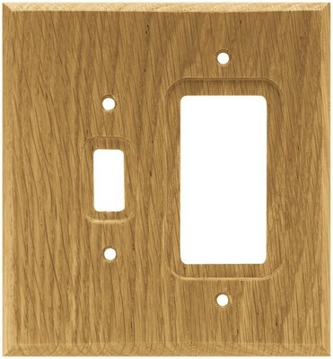 Liberty Hardware 64679, Single Switch/Decorator Wall Plate, Medium Oak, Wood Square