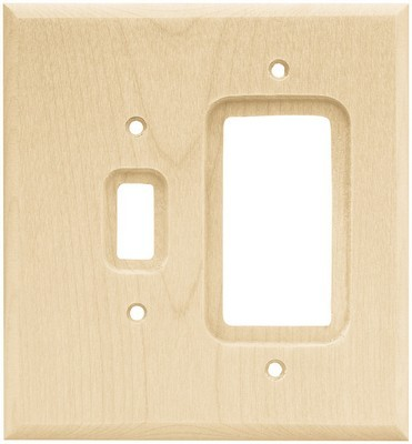 Liberty Hardware 64680, Single Switch/Decorator Wall Plate, Unfinished Wood, Wood Square
