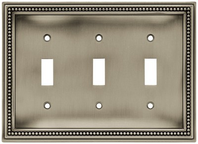 Liberty Hardware 64737, Triple Switch Wall Plate, Brushed Satin Pewter, Beaded