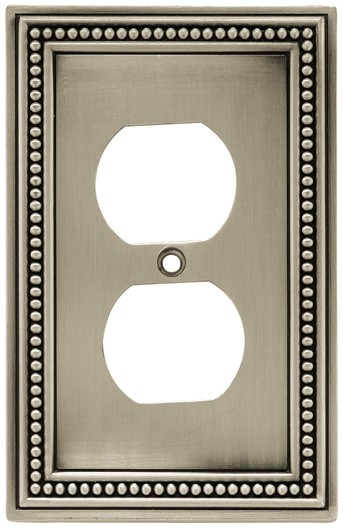 Liberty Hardware 64776, Single Duplex Wall Plate, Brushed Satin Pewter, Beaded