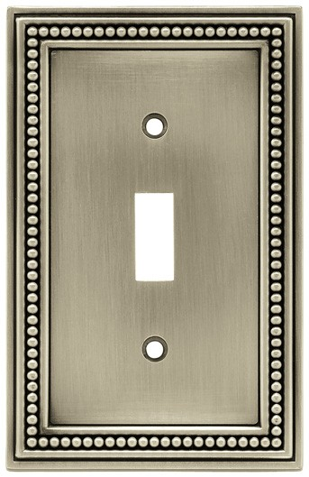 Liberty Hardware 64905, Single Switch Wall Plate, Brushed Satin Pewter, Beaded