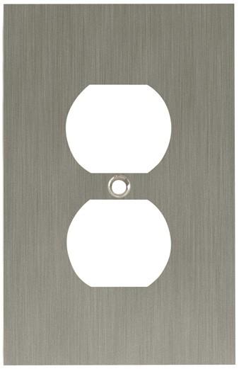 Liberty Hardware 64930, Single Duplex Wall Plate, Satin Nickel, Concave