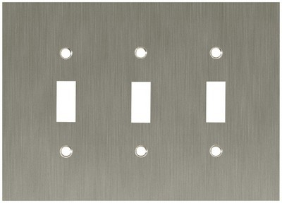 Liberty Hardware 64935, Triple Switch Wall Plate, Satin Nickel, Concave