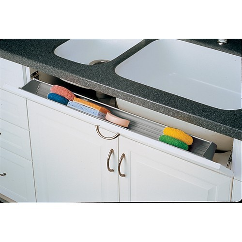 Rev-A-Shelf 6551-36-11-52 - Polymer Sink Tip-Out Tray, 36in L, White, 2-Prs of Pivot Hinges
