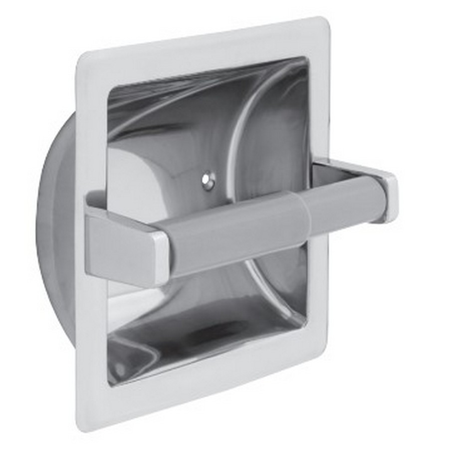 Recessed Tissue Roll Holder with Plastic Roller Bright Stainless Steel Liberty 657B