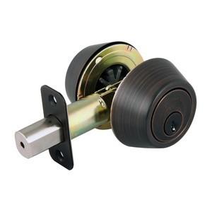 Design House 702613 Double Cylinder 2-Way Latch Deadbolt, Adjustable Backset, Brushed Bronze
