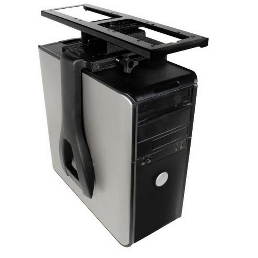 Swivel and Slide Non-Lockable Under Desk CPU Holder Black Wrinkle Knape and Vogt Waterloo 7351D
