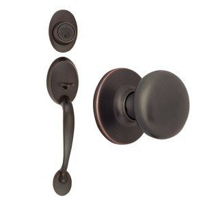 Design House 753566 Coventry 2-Way Latch Entry Door Handle Set with Knob Handle & Keyway, Adjustable Backset, Oil Rubbed Bronze