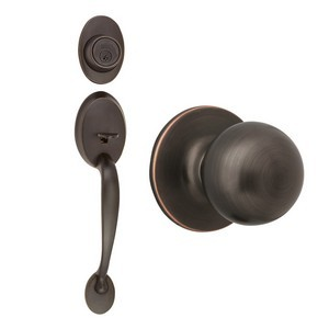 Design House 791681 Coventry 2-Way Latch Handle Set with Entry Door Knob, Keyway & Handle, Oil Rubbed Bronze