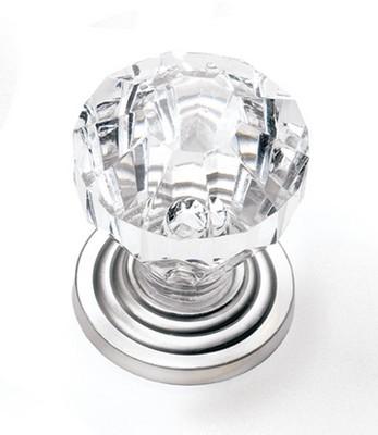 """Kristal Knob 1"""" Dia Clear/Satin Pewter Laurey 82059"""
