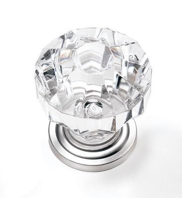 """Kristal Knob 1-1/4"""" Dia Clear/Satin Pewter  Laurey 82159"""