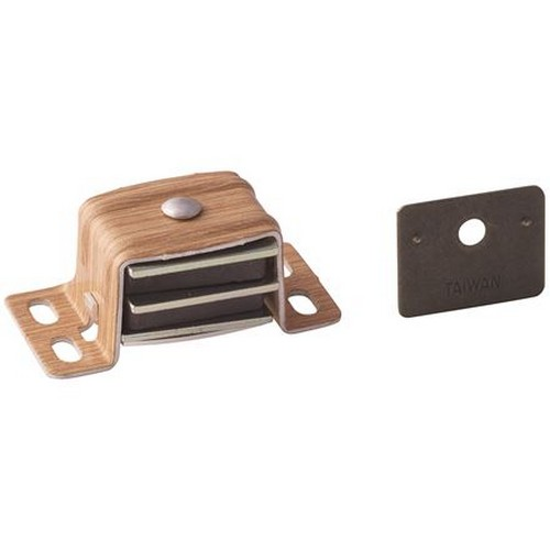 """Single Magnetic Catch with Strick Plate 2-1/16"""" Long Wood Grain Amerock BP9798AW"""