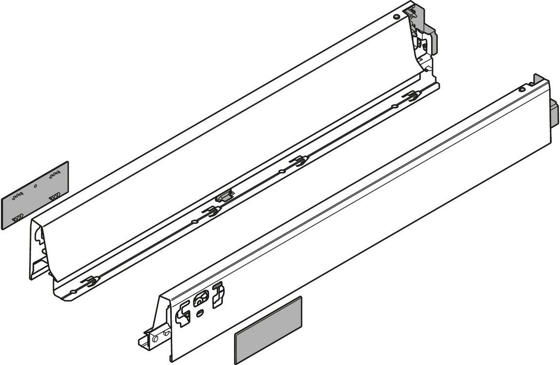 """Blum 358N5502SA 22"""" TANDEMBOX 358N Drawer Side, 2-3/4 Height, Gray, Set (Right & Left)"""