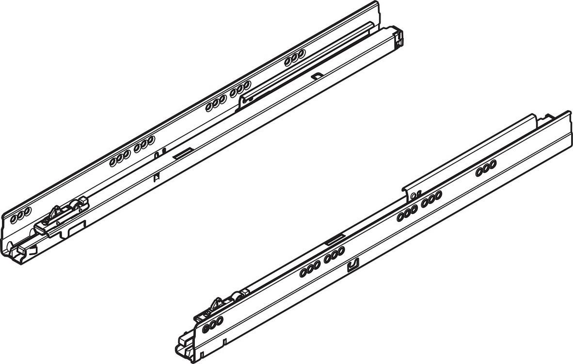 "Blum TANDEMBOX Drawer System 558.5001B R-L 20"" Full Extension Cabinet Member, 75lb, BLUMOTION, Zinc"