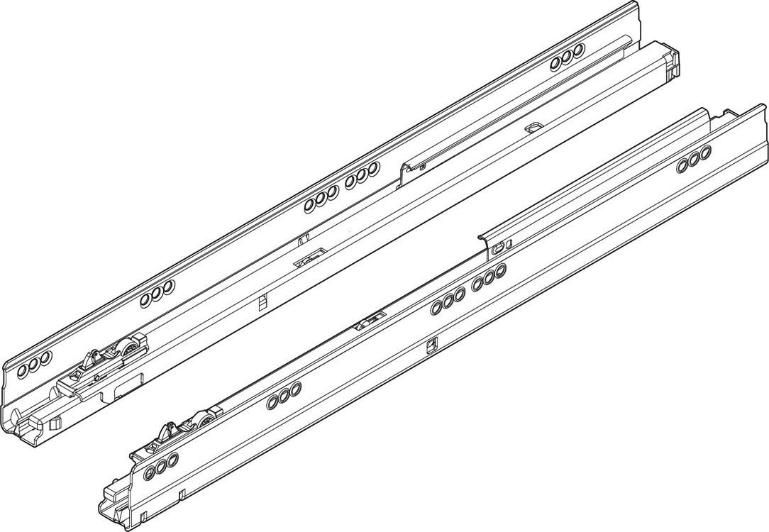 "Blum TANDEMBOX Drawer System 556.5501B R-L 22"" Full Extension Cabinet Member, 150lb, BLUMOTION, Zinc"