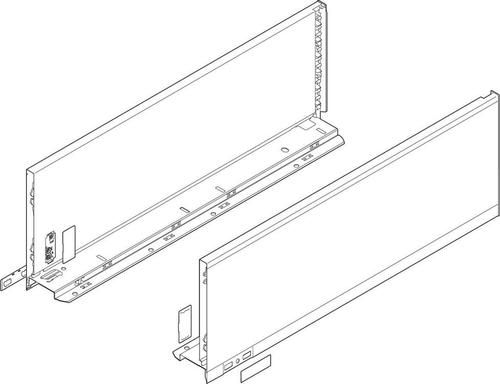 "Blum 770C4002S LEGRABOX 16"" C Height (7"") Drawer Profile, BLUMOTION, Orion Gray"