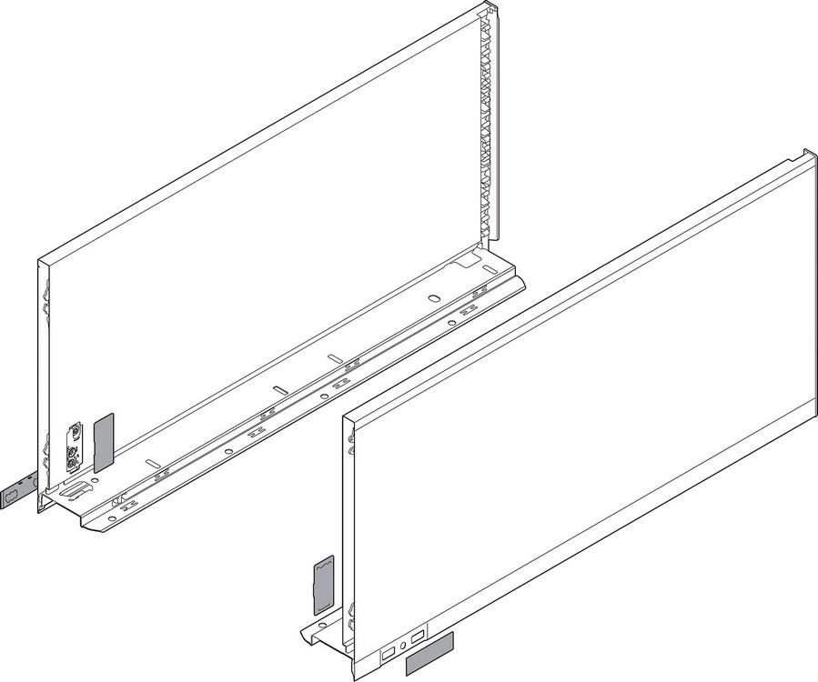 "Blum 770F5502I LEGRABOX 22"" F Height (9-1/2"") Drawer Profile, BLUMOTION, Stainless Steel"