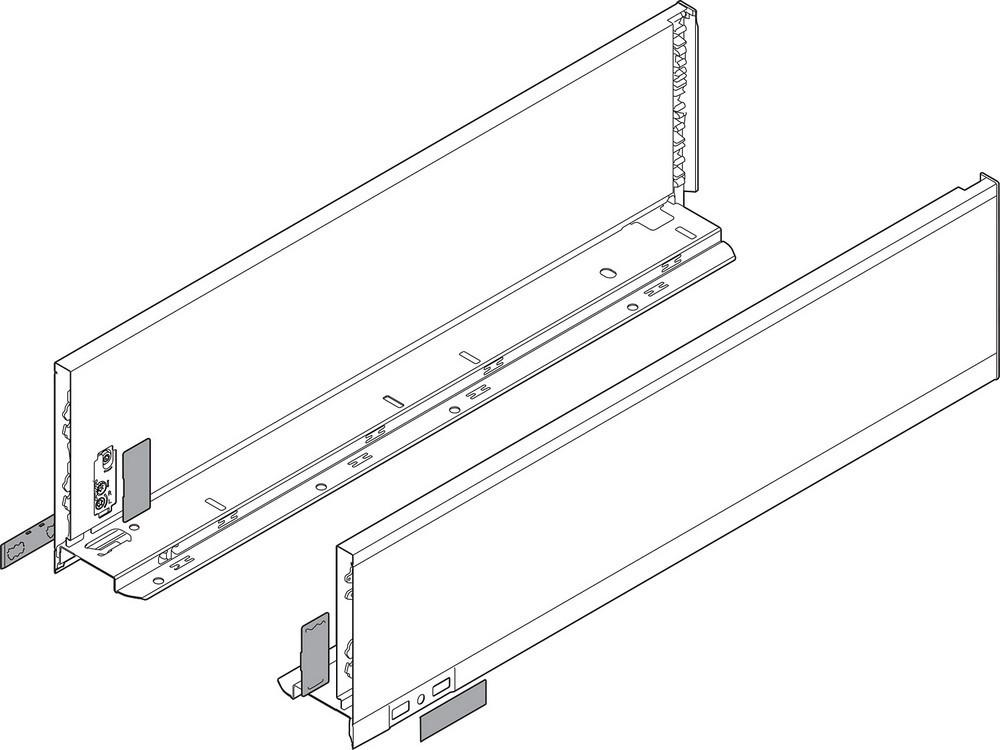 "Blum 770K4502I LEGRABOX 18"" K Height (5-1/16"") TIP-ON BLUMOTION Drawer Profiles, Stainless Steel"