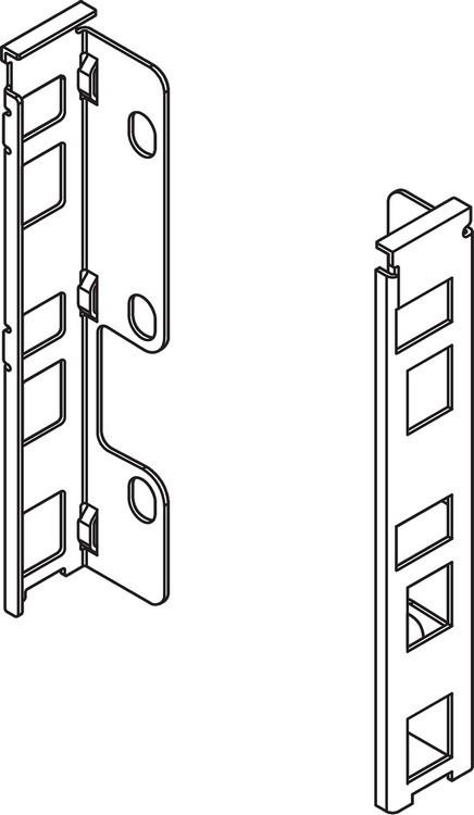 """Blum ZB7K000S LEGRABOX K Height (5-1/16"""") Rear Fixing Bracket Set, Right Hand & Left Hand, Orion Gray"""