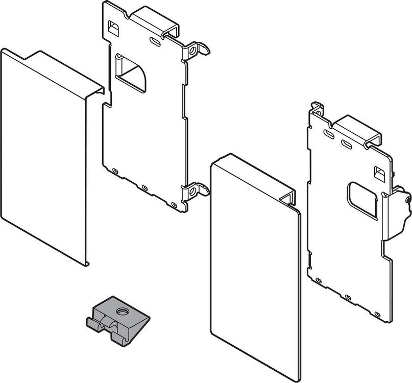 "Blum ZI7.0MS0 LEGRABOX M Height (3-9/16"") Interior Front Fixing Bracket, Orion Gray"