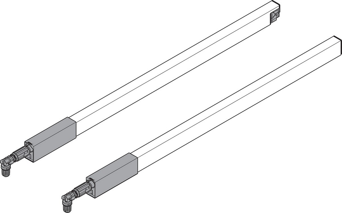 """BLUM ZRG.437RIIC 20"""" Top Gallery Rail Set (Right & Left), 500mm, Stainless Steel"""