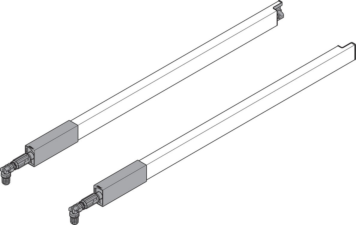 "BLUM ZRG.337RIIE 20"" TANDEMBOX Center Gallery Rail Set (Right & Left), 500mm, Stainless Steel"