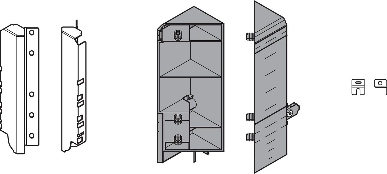 Blum ZSF.345E.D1 TANDEMBOX Space Corner Set (Front & Rear Brackets), D Height, Dust Gray/Nickel