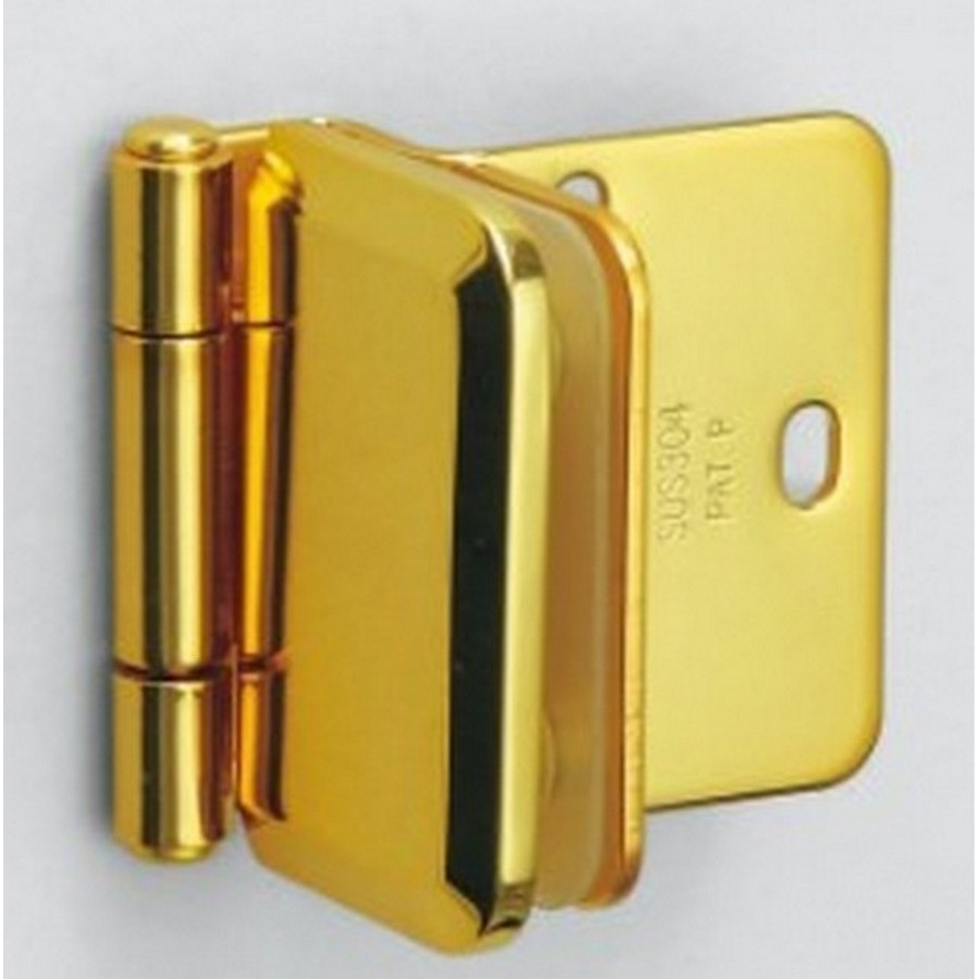 "Half Overlay Glass Door Hinge 2-1/8"" L Gold Sugatsune XL-GH03-48-8GC"