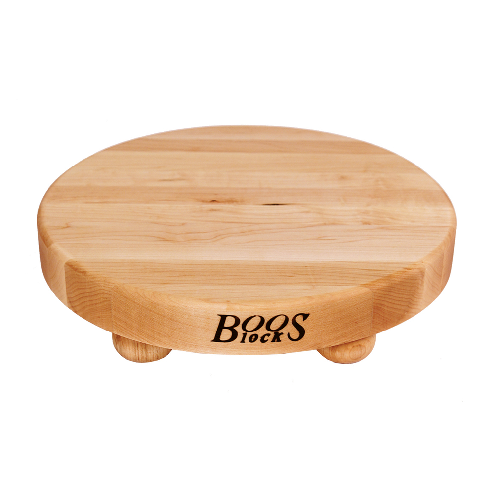 John Boos B12R 12in dia. Cutting Board with Feet, Gift Collection, Maple, Size 12 Dia. x 1-1/2 Thick
