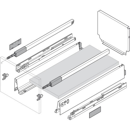 Blum 356M55B7SAF 18in TANDEMBOX Waste & Recycle Set, White
