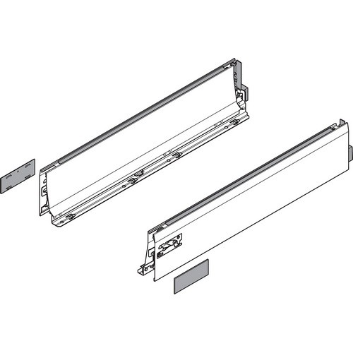 "Blum 358L5502IA2 22"" TANDEMBOX 358L Drawer Side, Stainless Steel, Set (Right & Left)"