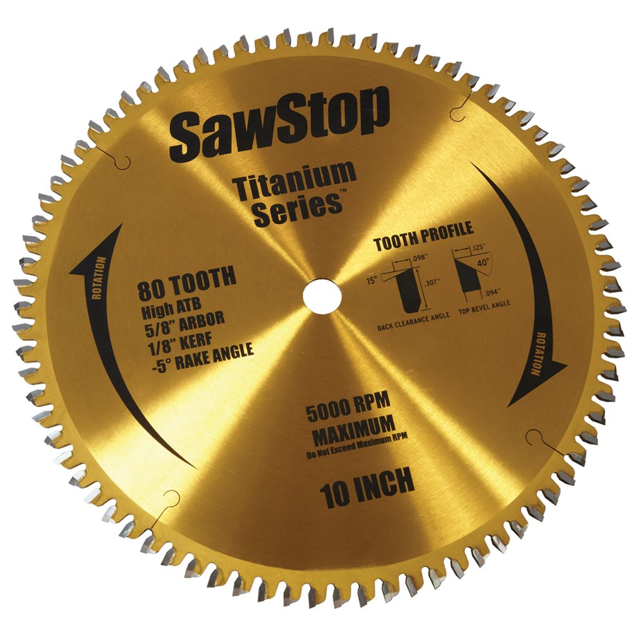SawStop Titanium Series 80 Tooth Table Saw Blade BTS-P-80HATB