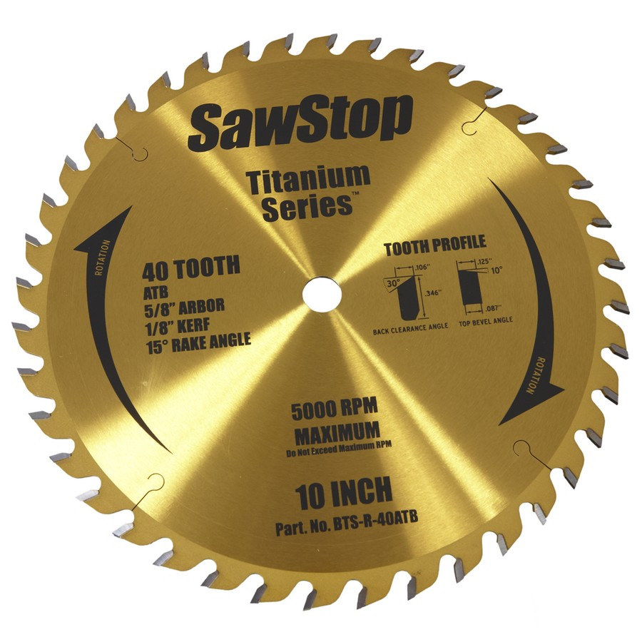 SawStop Titanium Series 40 Tooth Combination Table Saw Blade BTS-R-40ATB