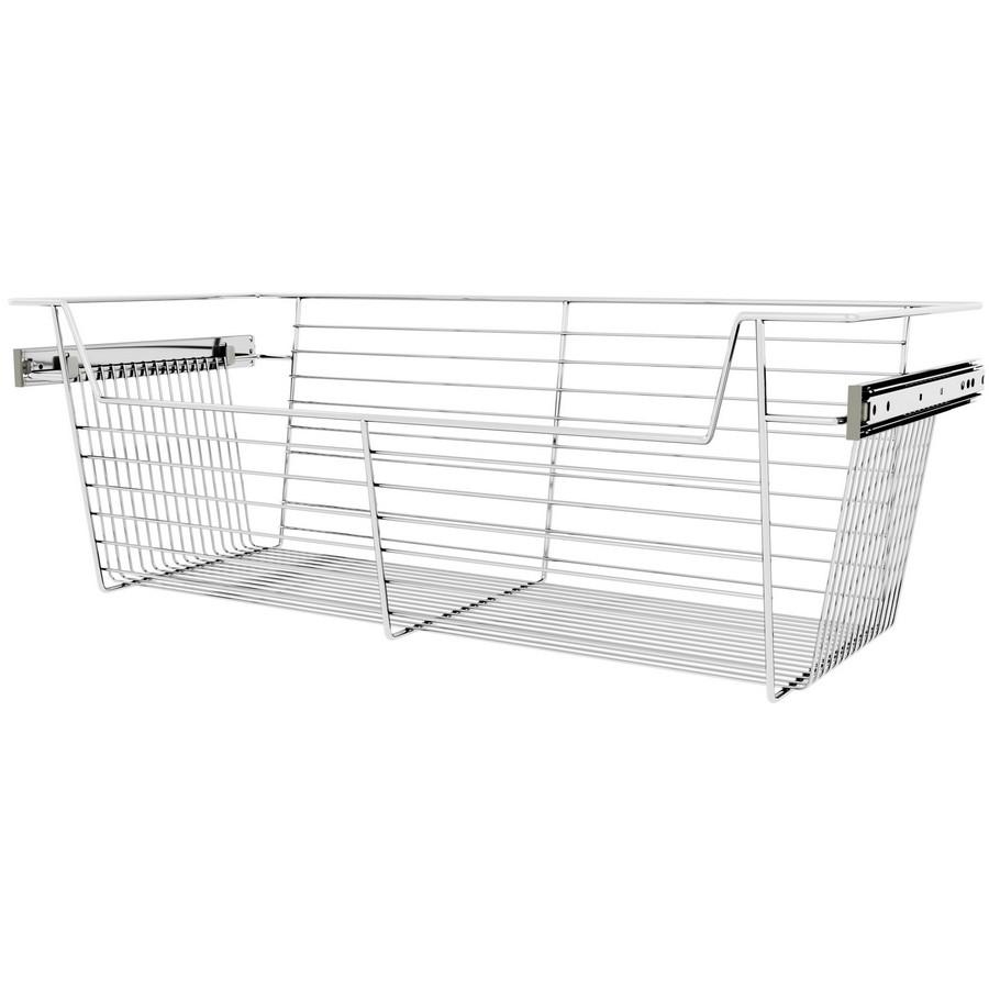 "30"" X 14"" X 10"" Closet Basket with Slides Chrome Sidelines CBSL-301410CR-3"