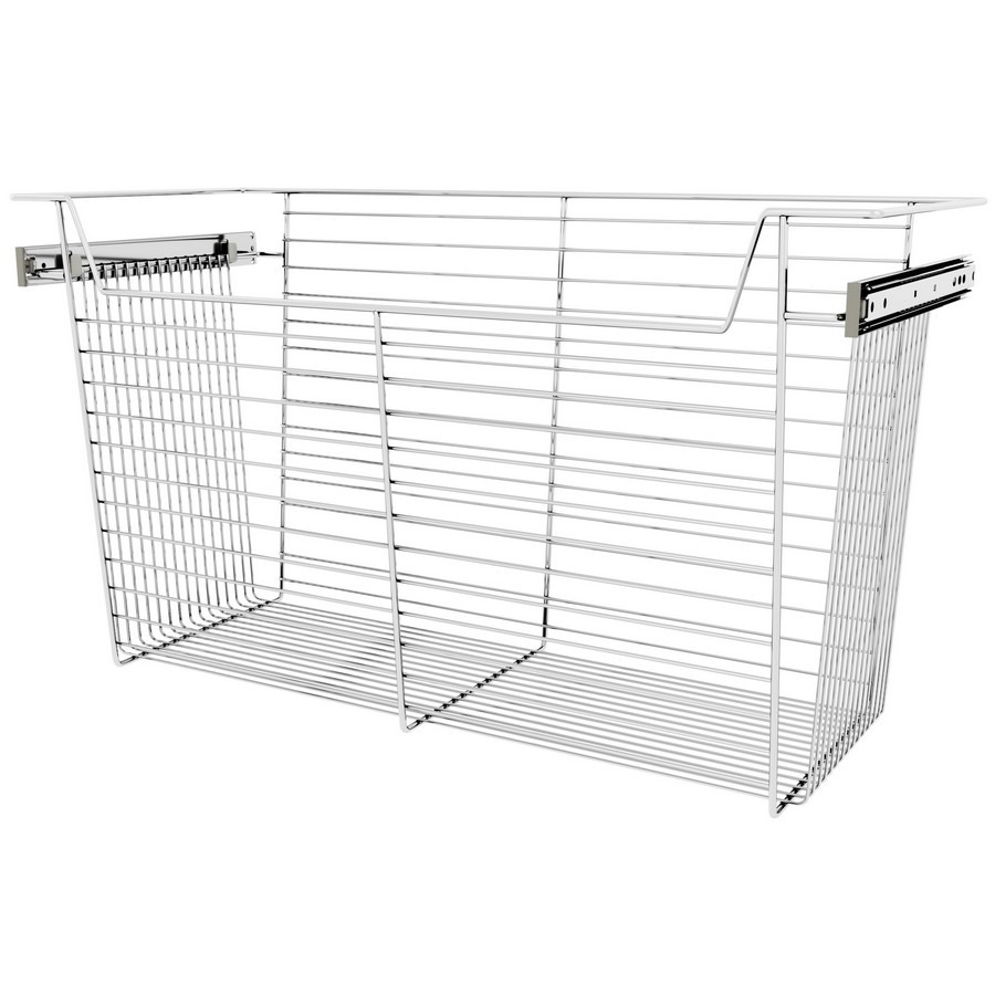 "30"" X 14"" X 17"" Closet Basket with Slides Chrome Sidelines CBSL-301417CR-3"