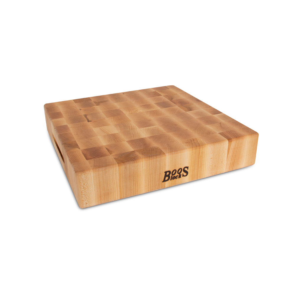 John Boos CCB151503 15 L Cutting Board with Hand Grips, Chopping Block Collection, Maple Series, Reversible, 15 L x 15 W x 3in Thick