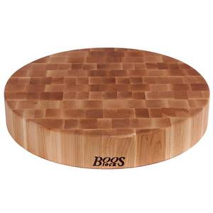 John Boos CCB24-R 24in dia. Cutting Board, Chopping Block Collection, Maple, Non-Reversible, 24in Dia. x 4in Thick