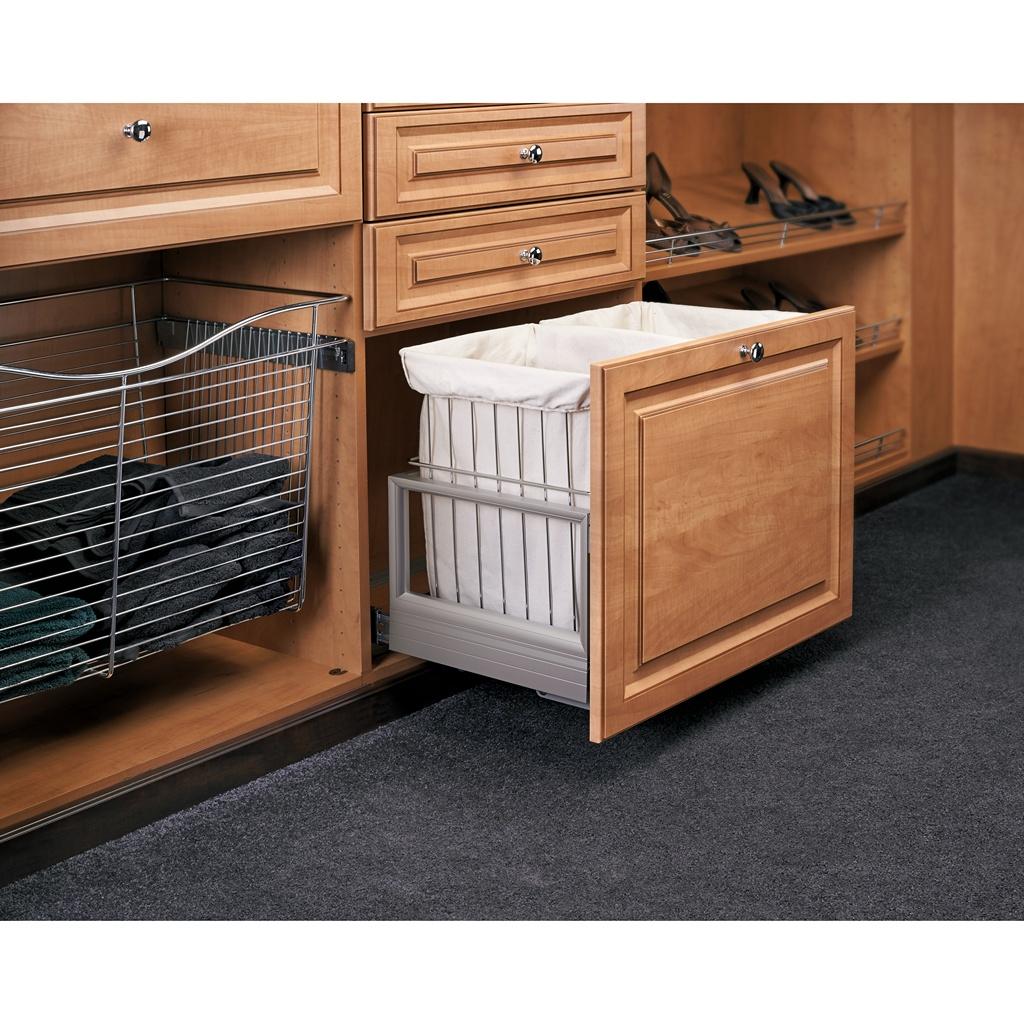 "Rev-A-Shelf CH-241419-RM-211, 24""W Double Wire Hamper with Rev-A-Motion"